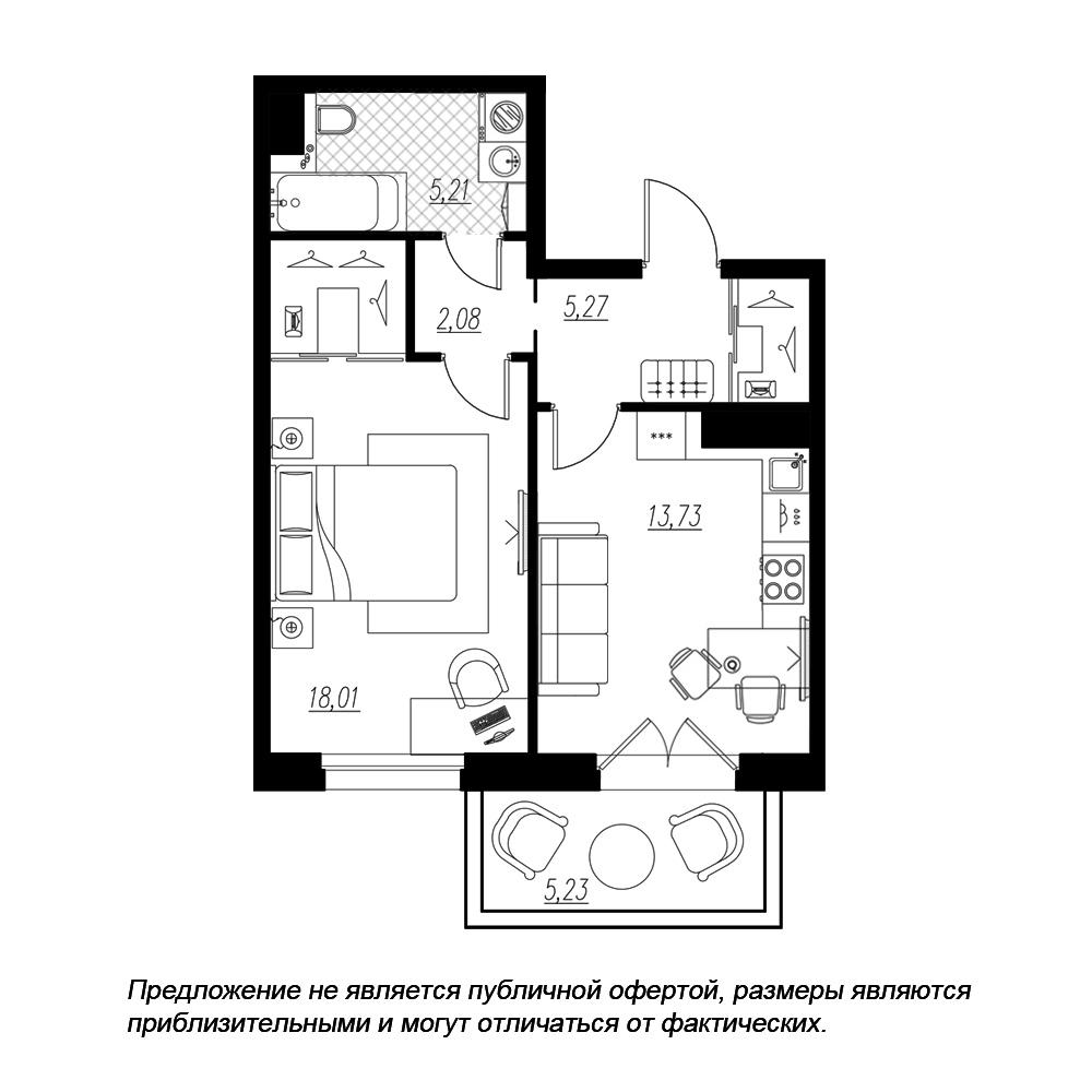 планировка однокомнатной квартиры в  №194