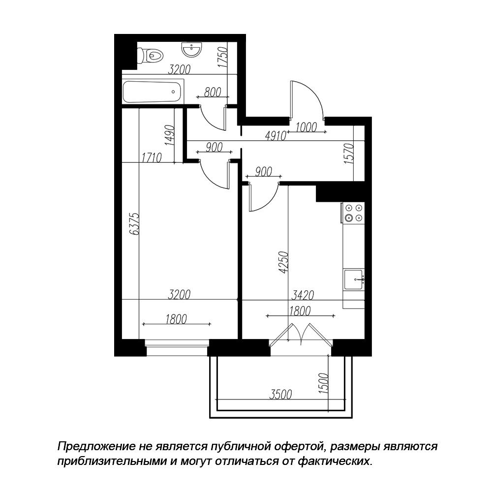 планировка однокомнатной квартиры в ЖК «Петровская Доминанта» №194