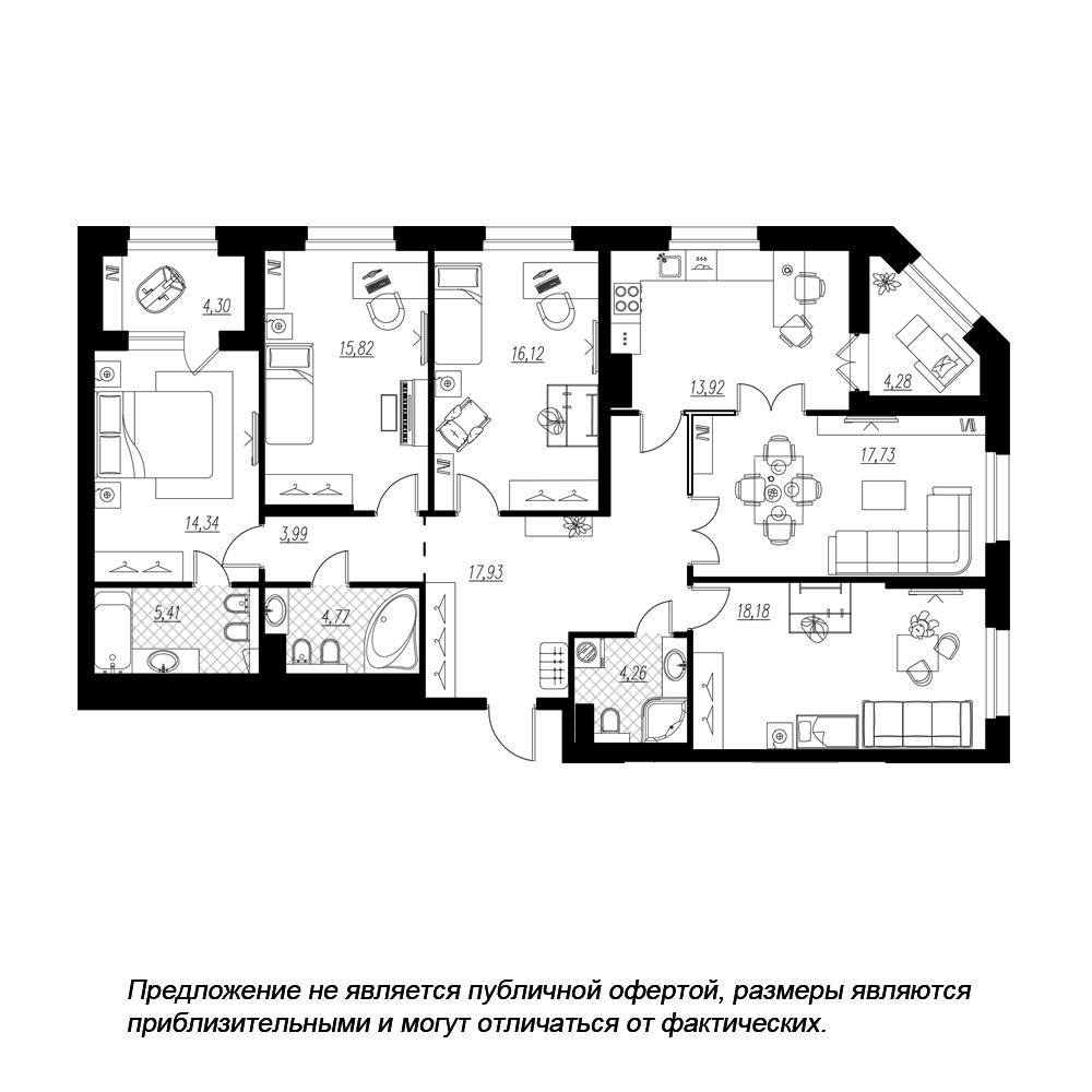 планировка пятикомнатной квартиры в  №166