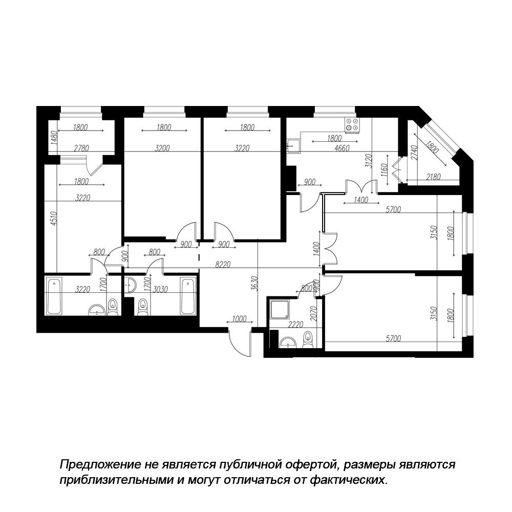 планировка пятикомнатной квартиры в ЖК «Петровская Доминанта» №166