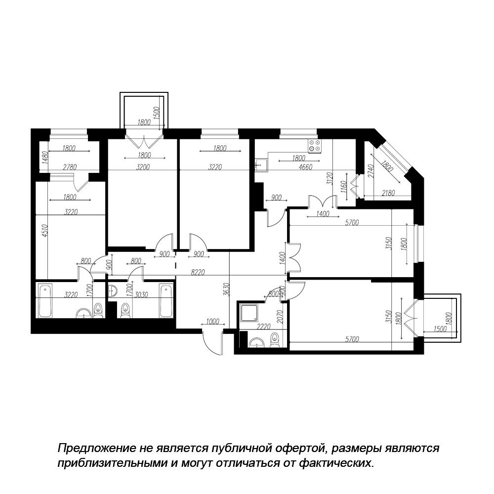 планировка пятикомнатной квартиры в ЖК «Петровская Доминанта» №172