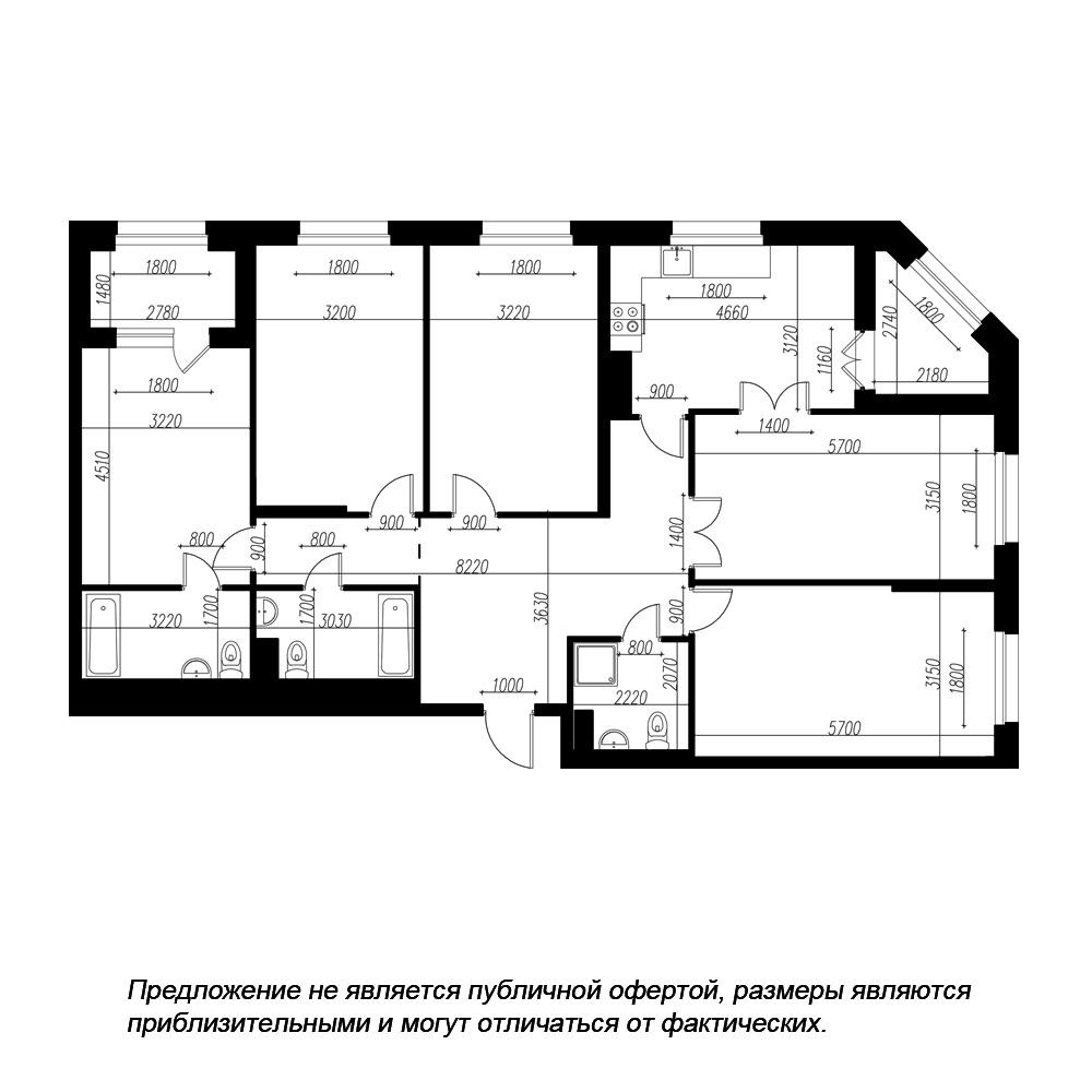 планировка пятикомнатной квартиры в ЖК «Петровская Доминанта» №178