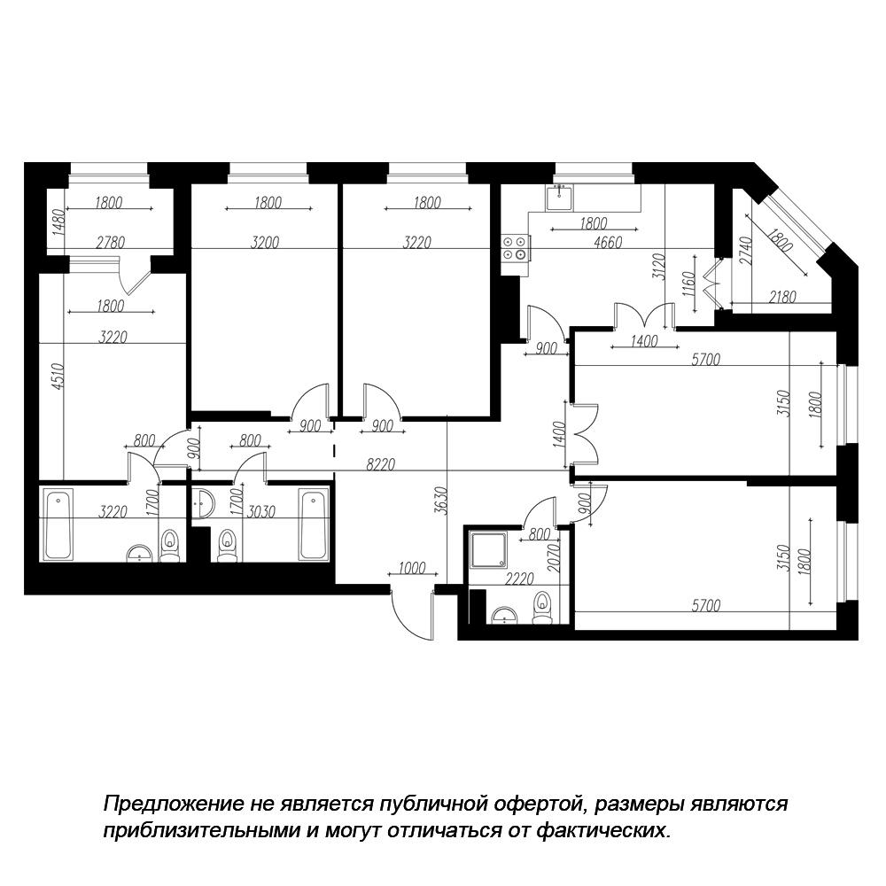 планировка пятикомнатной квартиры в ЖК «Петровская Доминанта» №190