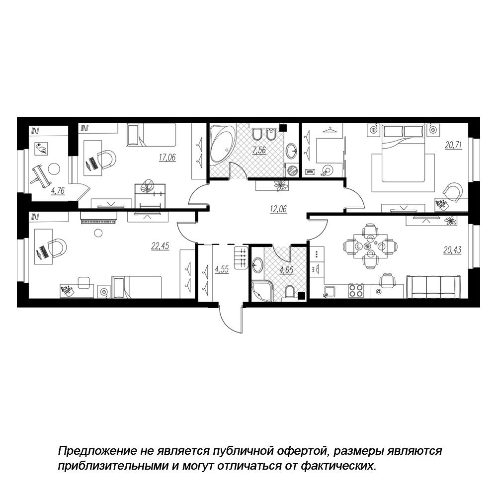 планировка трехкомнатной квартиры в  №206