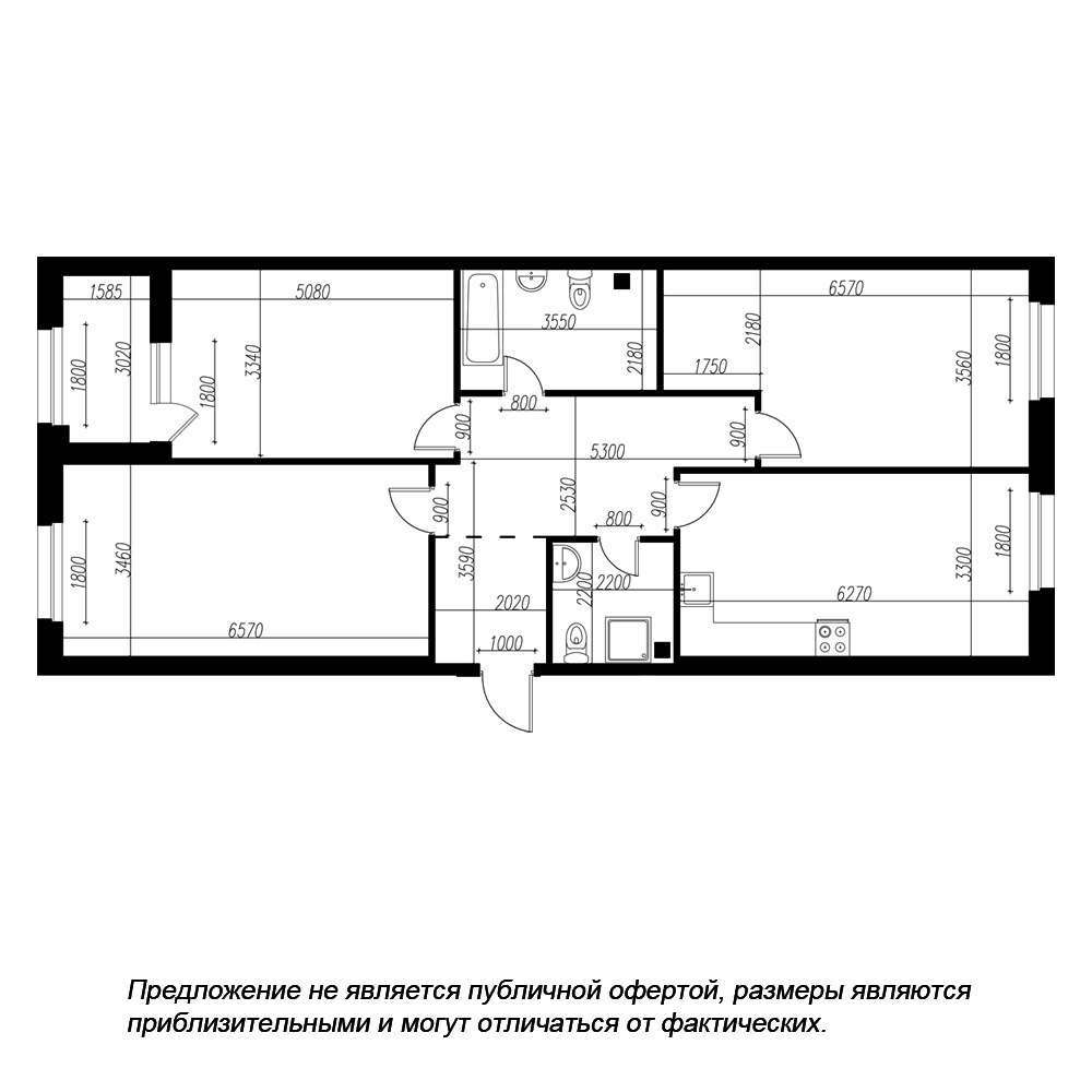 планировка трехкомнатной квартиры в ЖК «Петровская Доминанта» №206