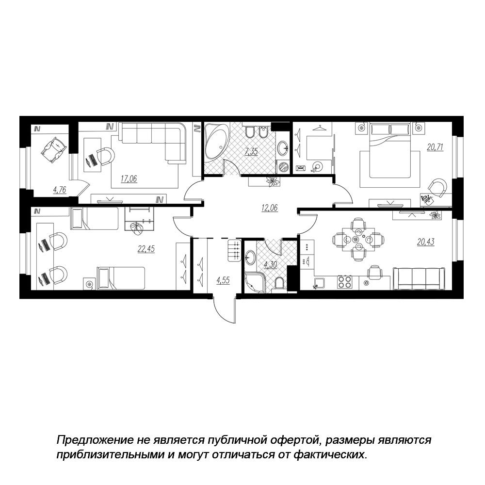 планировка трехкомнатной квартиры в  №210