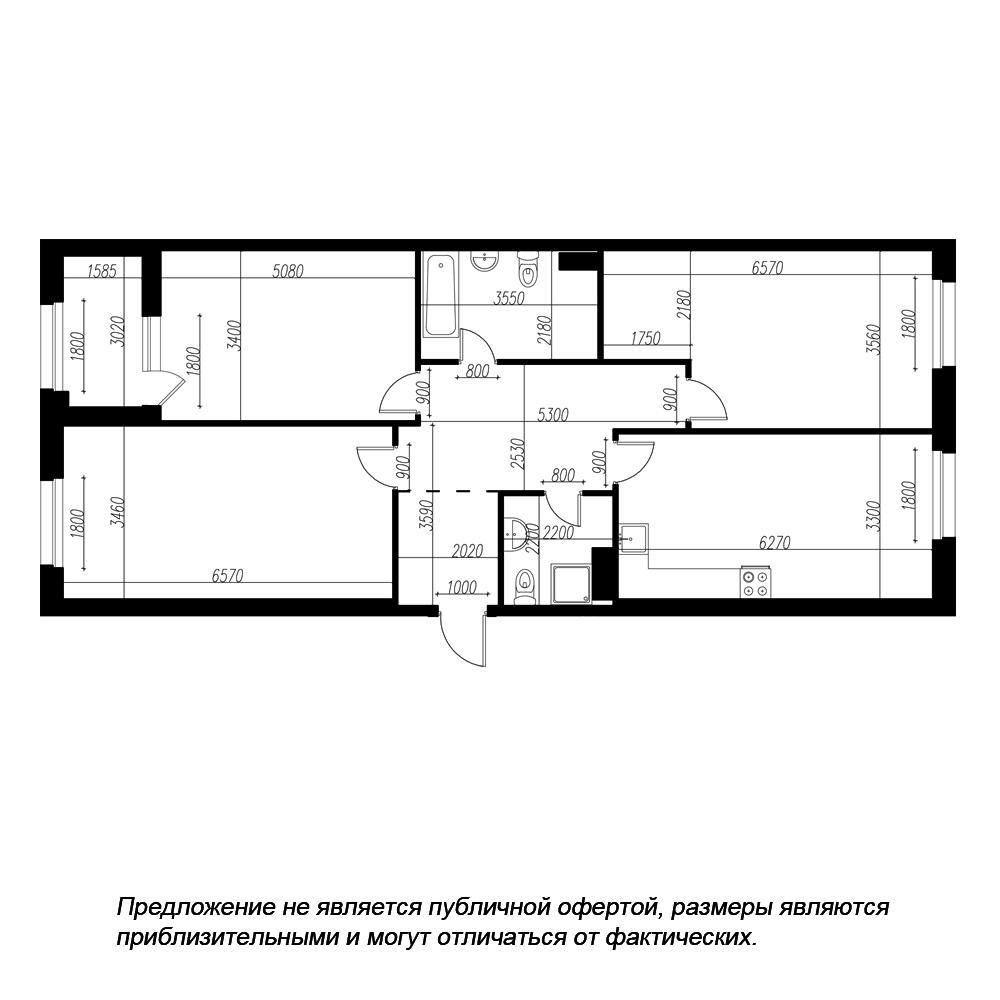 планировка трехкомнатной квартиры в ЖК «Петровская Доминанта» №210