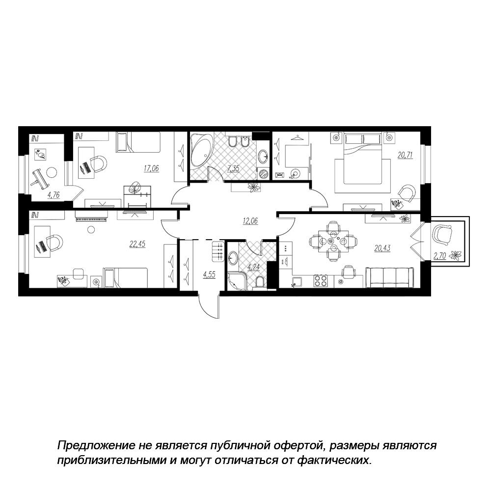 планировка трехкомнатной квартиры в ЖК «Петровская Доминанта» №214