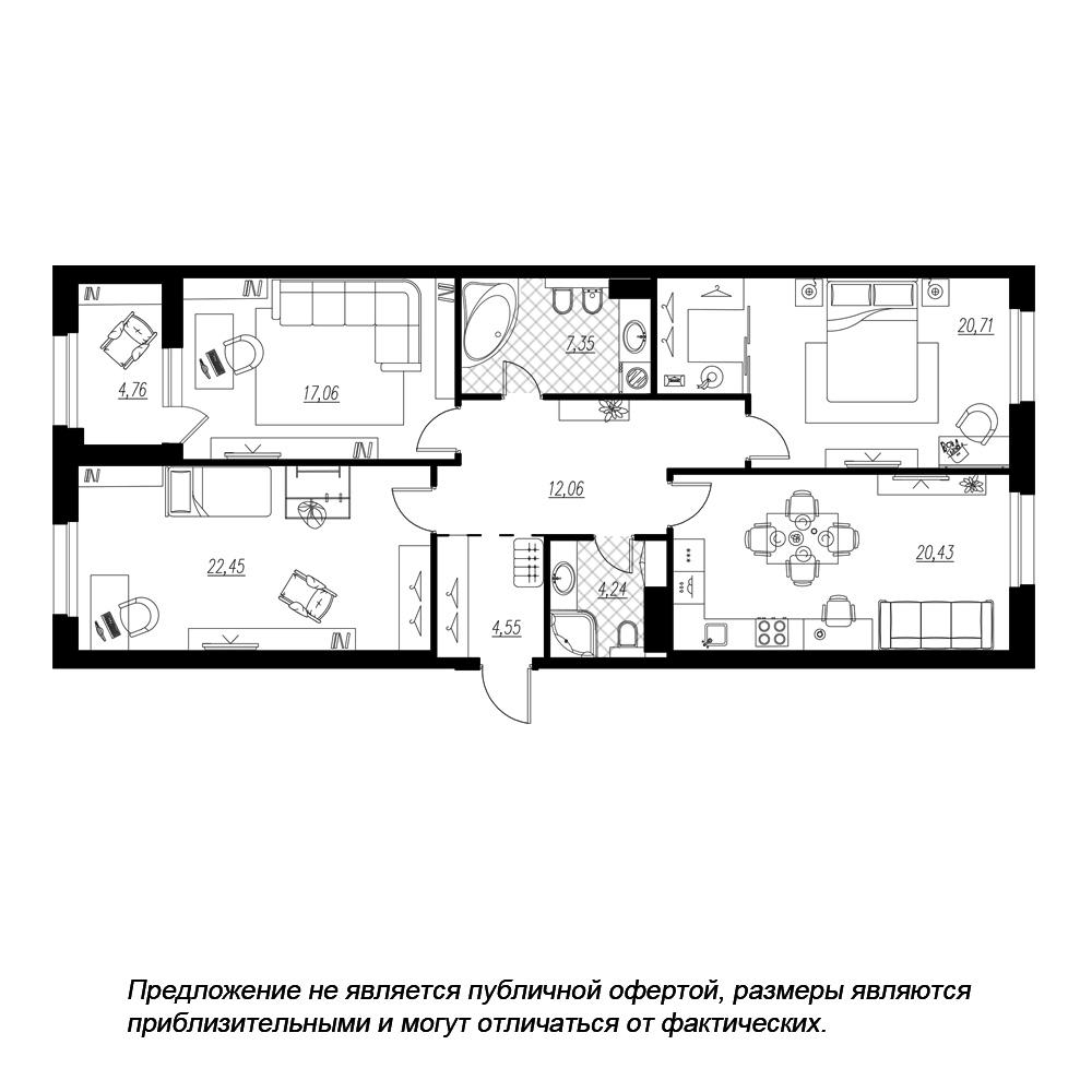 планировка трехкомнатной квартиры в  №218