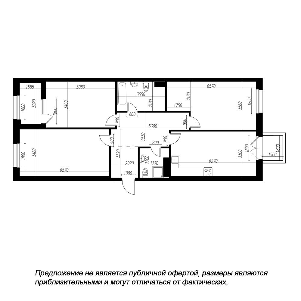 планировка трехкомнатной квартиры в ЖК «Петровская Доминанта» №222