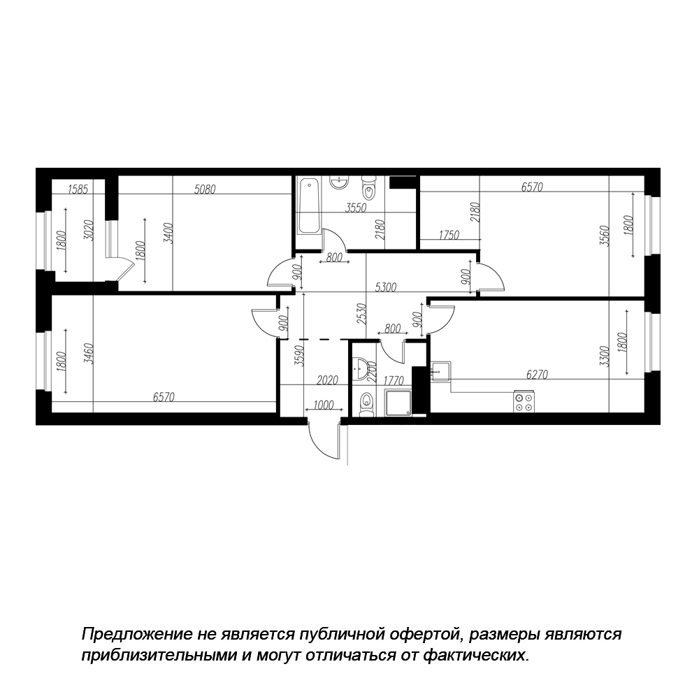 планировка трехкомнатной квартиры в ЖК «Петровская Доминанта» №226