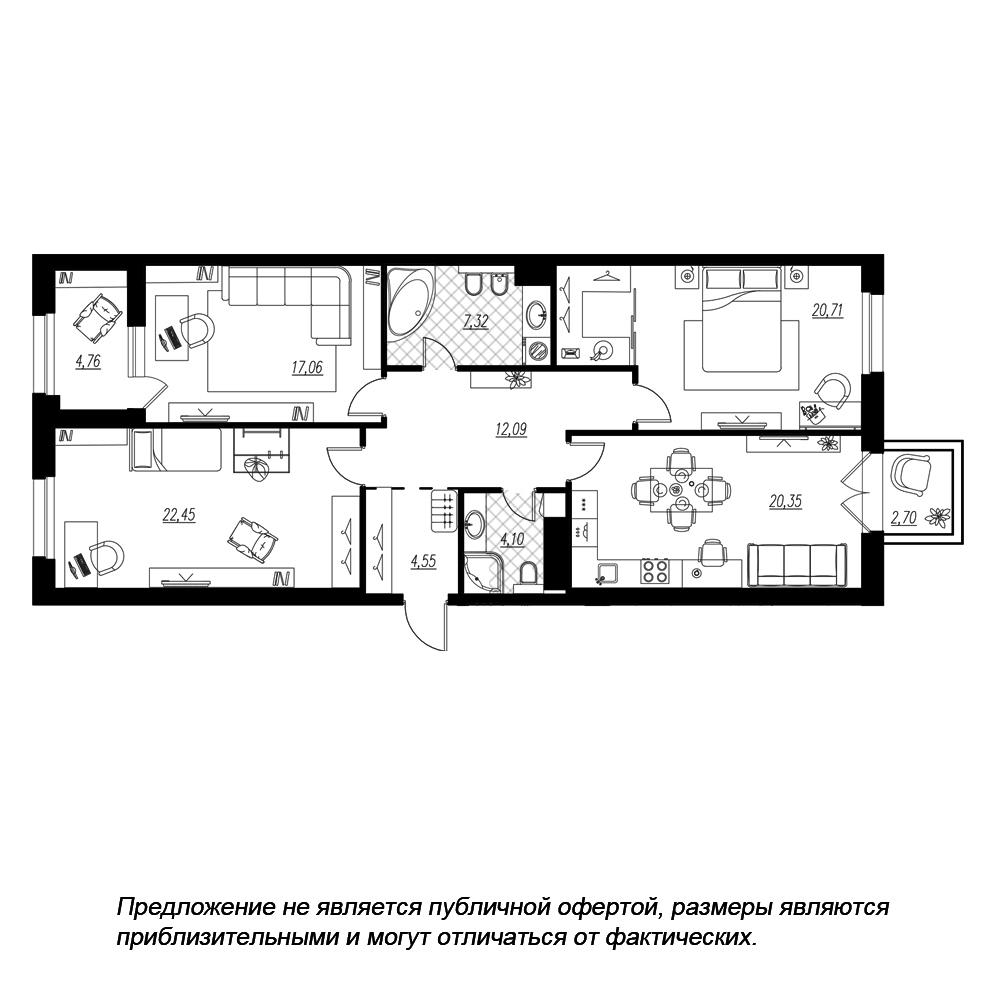 планировка трехкомнатной квартиры в  №230