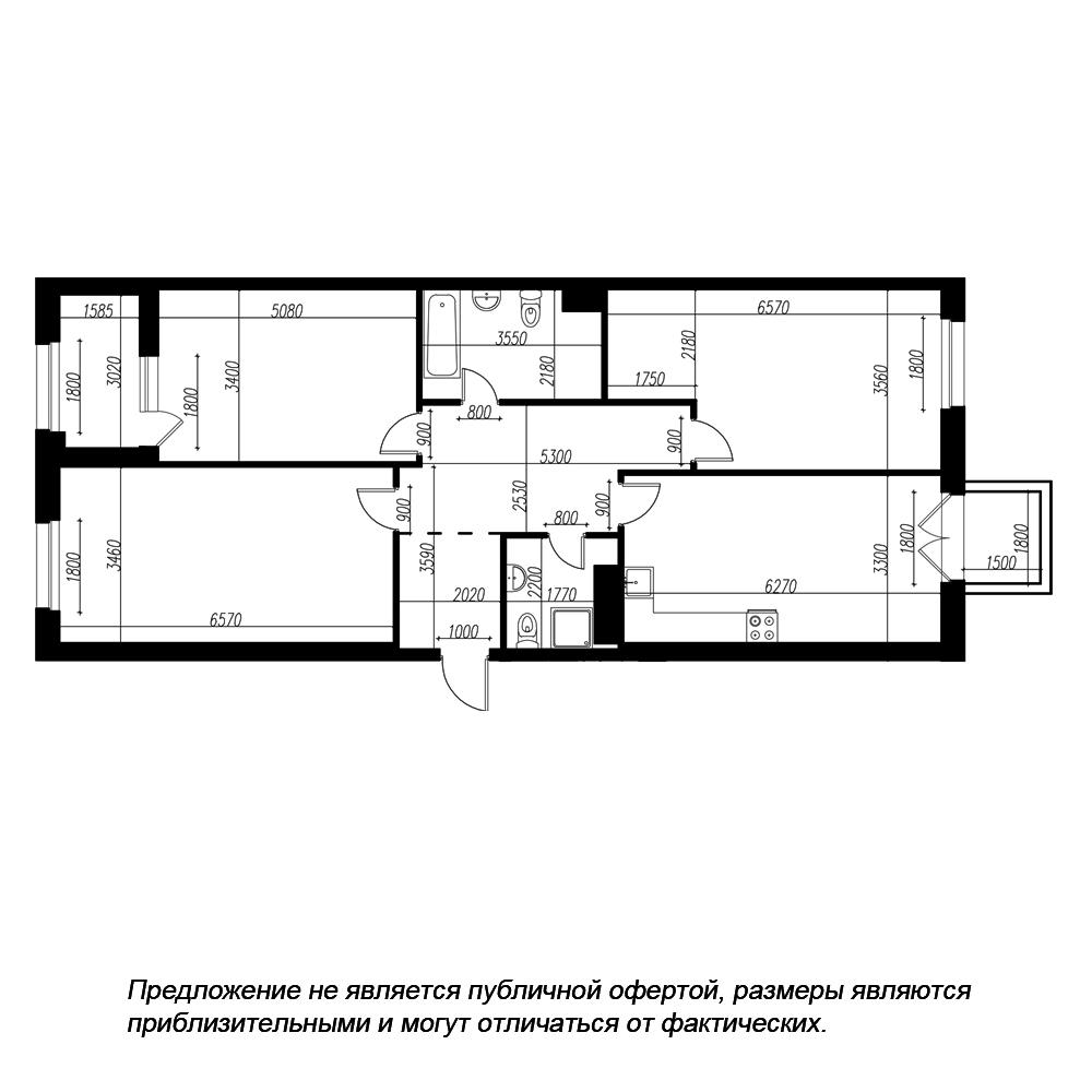 планировка трехкомнатной квартиры в ЖК «Петровская Доминанта» №230