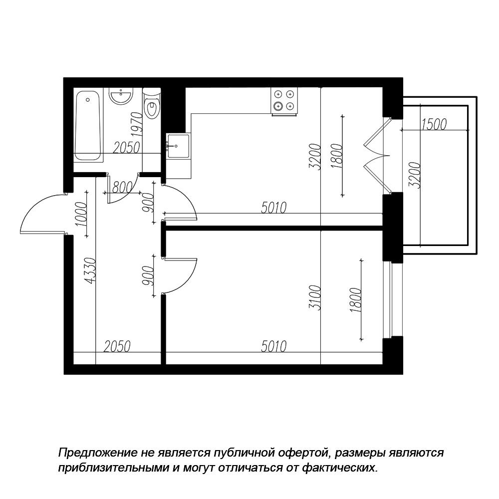 планировка однокомнатной квартиры в ЖК «Петровская Доминанта» №74
