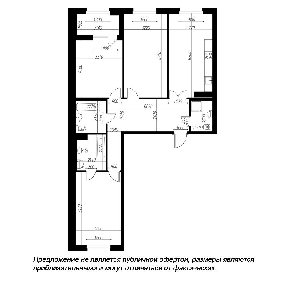 планировка трехкомнатной квартиры в ЖК «Петровская Доминанта» №177