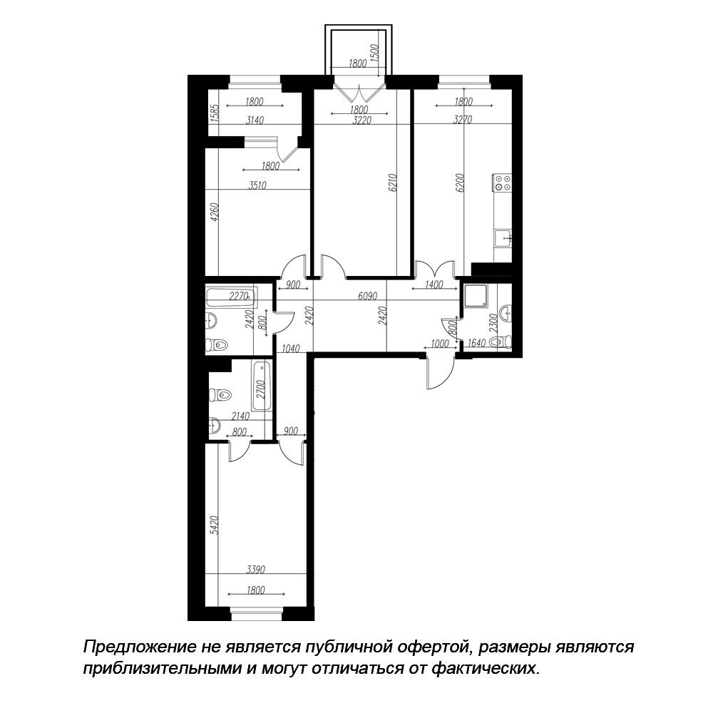 планировка трехкомнатной квартиры в ЖК «Петровская Доминанта» №171