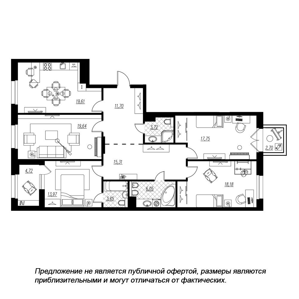 планировка четырехкомнатной квартиры в  №199
