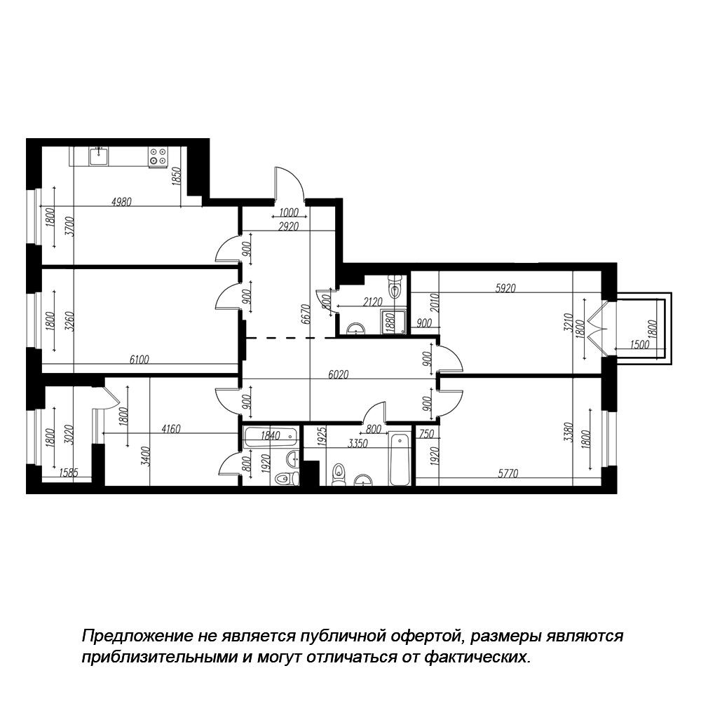 планировка четырехкомнатной квартиры в ЖК «Петровская Доминанта» №199