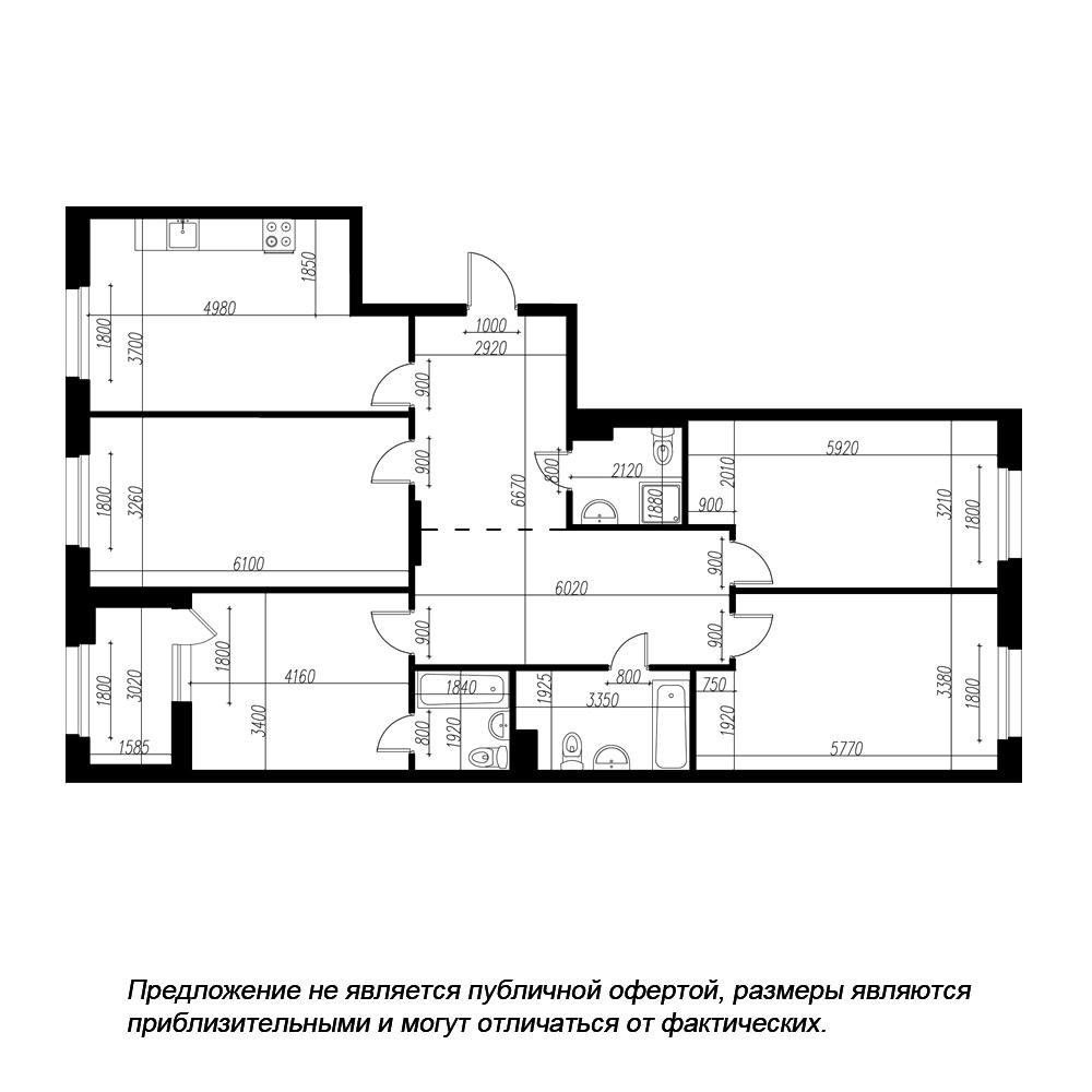планировка четырехкомнатной квартиры в ЖК «Петровская Доминанта» №164