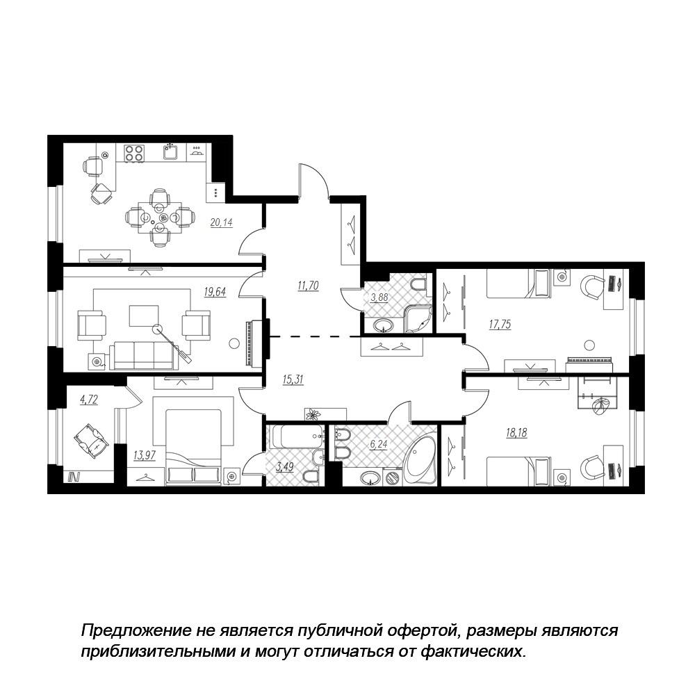 планировка четырехкомнатной квартиры в  №164