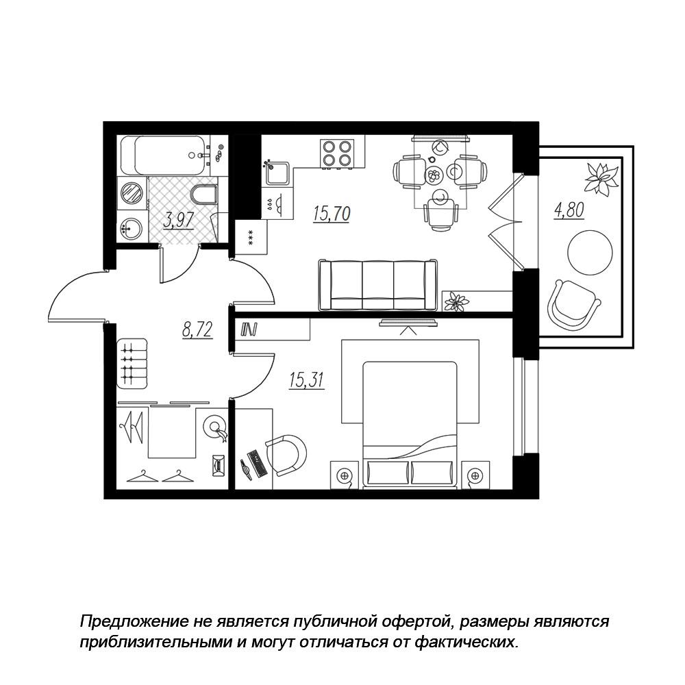 планировка однокомнатной квартиры в  №79