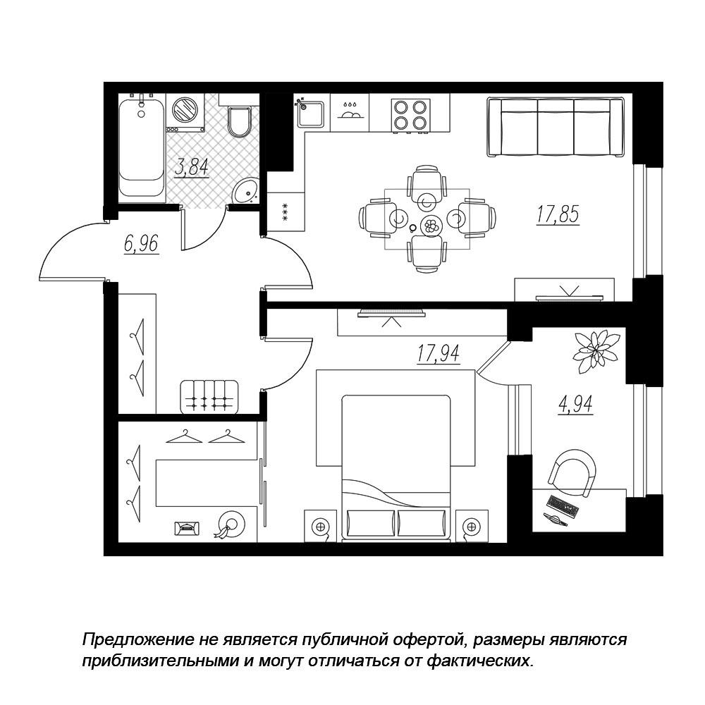 планировка однокомнатной квартиры в  №174