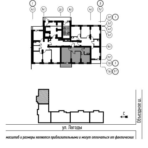 планировка двухкомнатной квартиры в ЖК «Охта Хаус» №26
