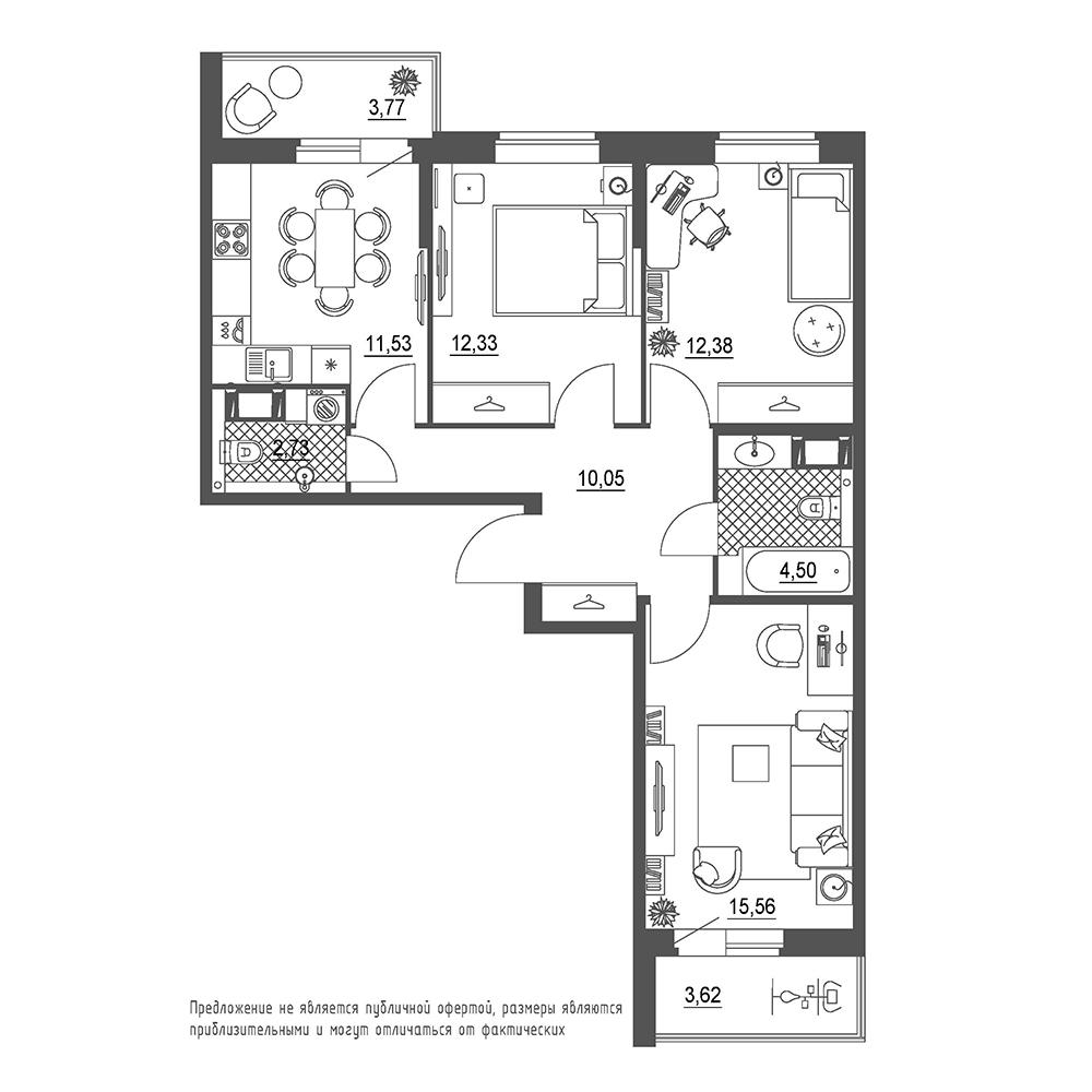 планировка трехкомнатной квартиры в  №200