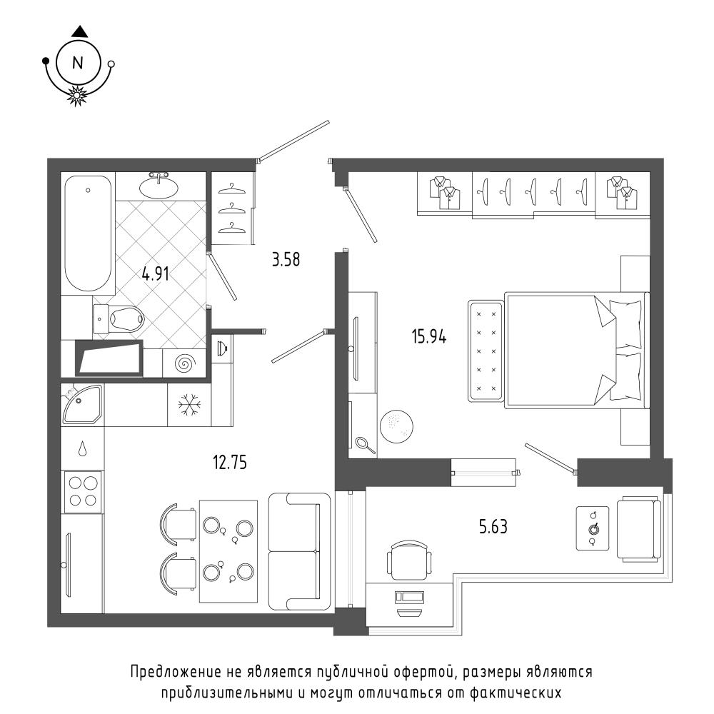 планировка однокомнатной квартиры в  №116