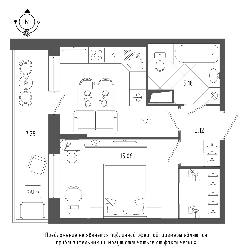 планировка однокомнатной квартиры в  №103