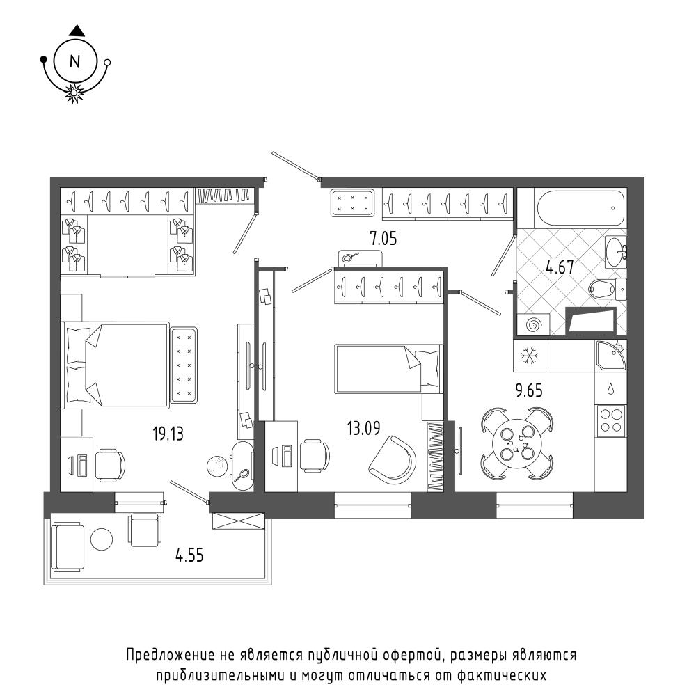 планировка двухкомнатной квартиры в  №26