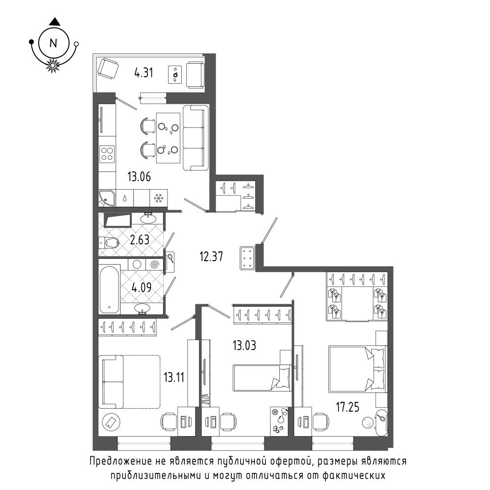 планировка трехкомнатной квартиры в  №18