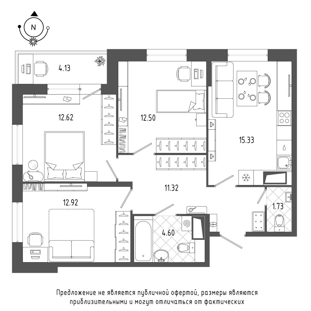 планировка трехкомнатной квартиры в  №104