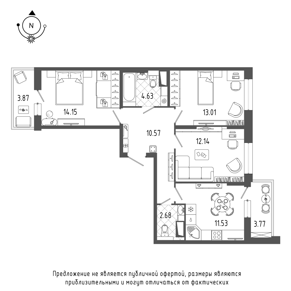 планировка трехкомнатной квартиры в  №234