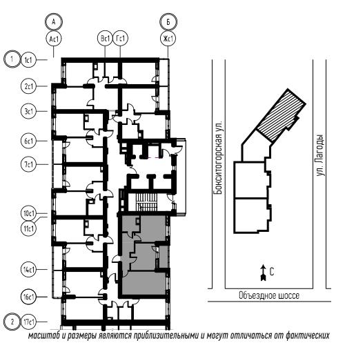 планировка двухкомнатной квартиры в ЖК «Охта Хаус» №57
