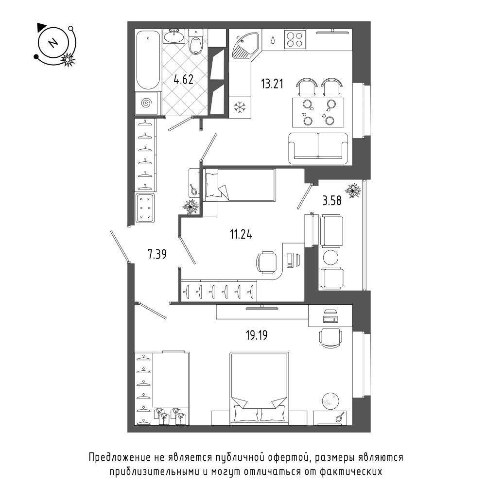 планировка двухкомнатной квартиры в  №120