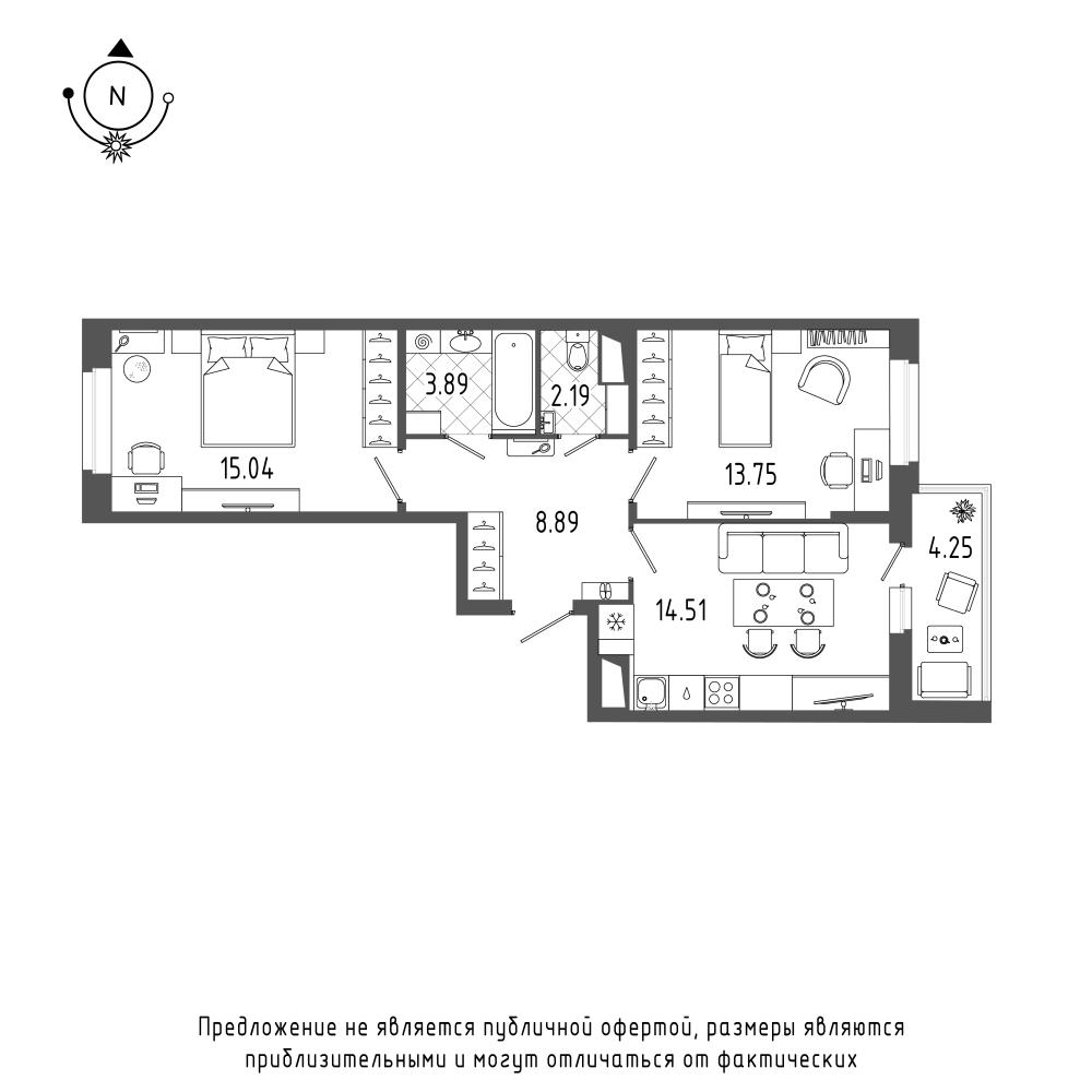 планировка двухкомнатной квартиры в  №240