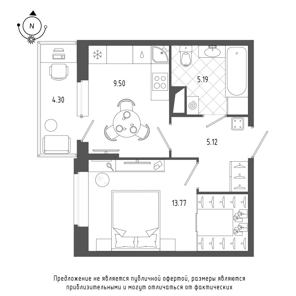 планировка однокомнатной квартиры в  №403