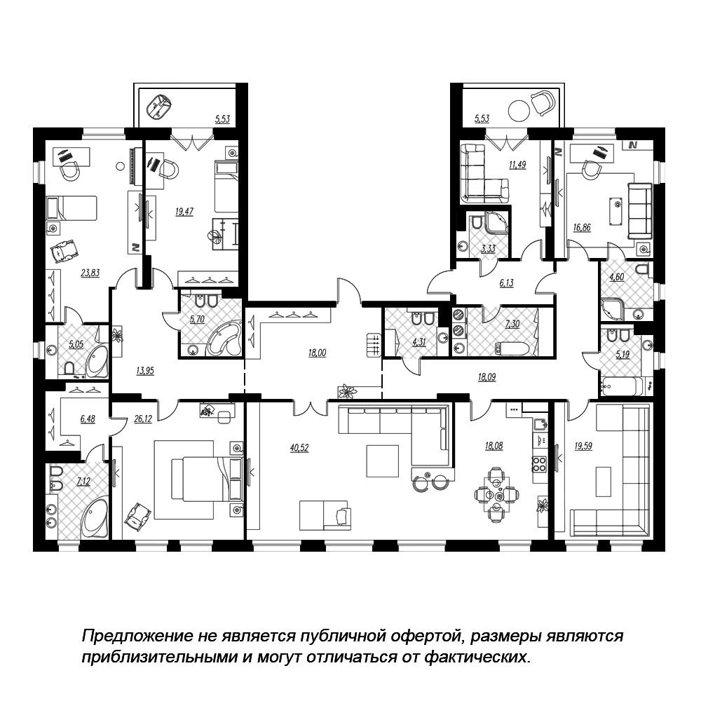 планировка многокомнатной квартиры в  №349