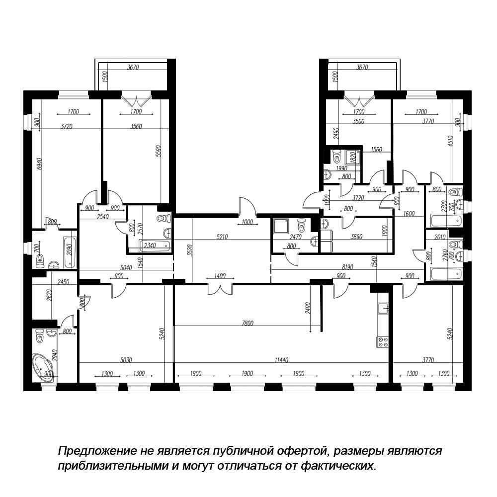 планировка многокомнатной квартиры в ЖК «Петровская Доминанта» №349