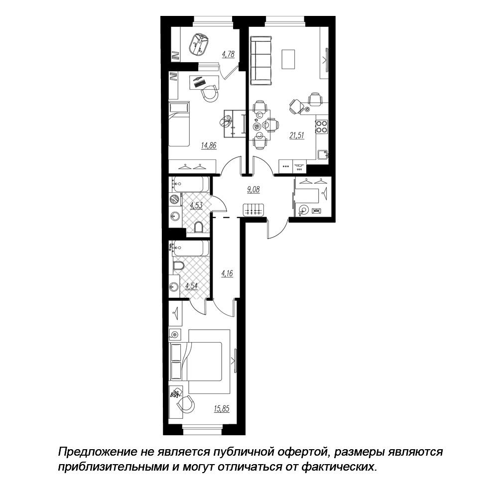 планировка двухкомнатной квартиры в  №319