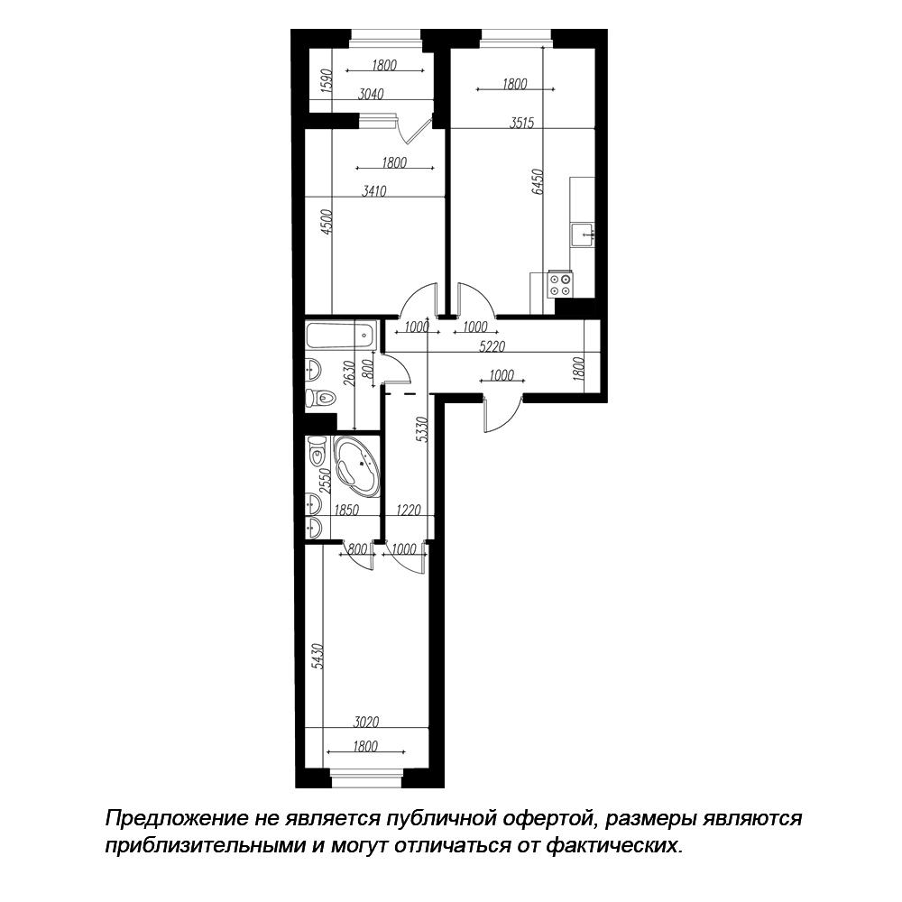 планировка двухкомнатной квартиры в ЖК «Петровская Доминанта» №319