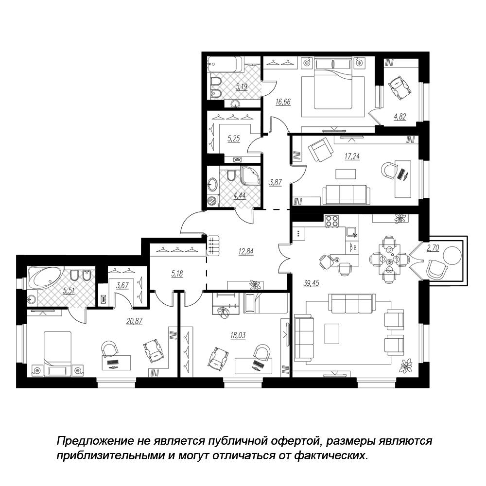 планировка четырехкомнатной квартиры в  №333