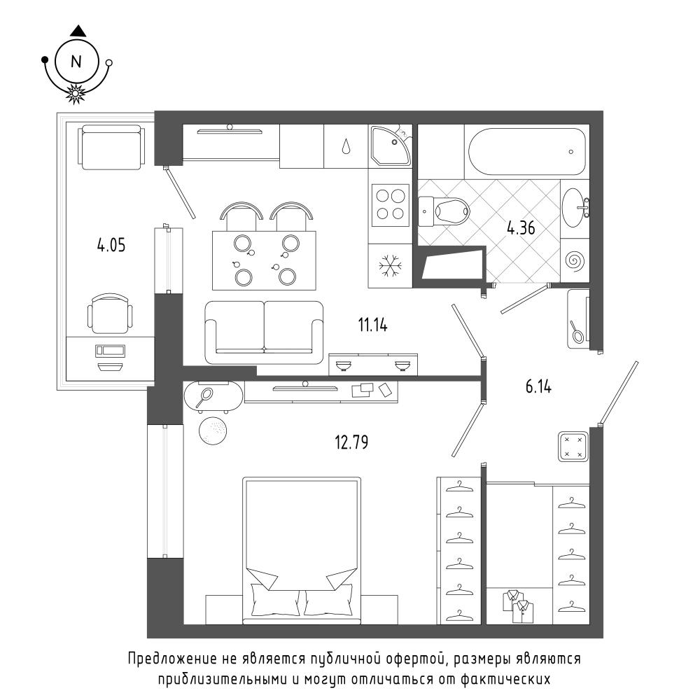 планировка однокомнатной квартиры в  №159