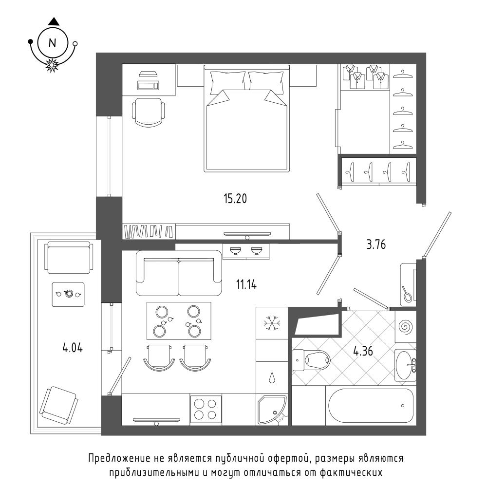 планировка однокомнатной квартиры в ЖК «Охта Хаус» №154