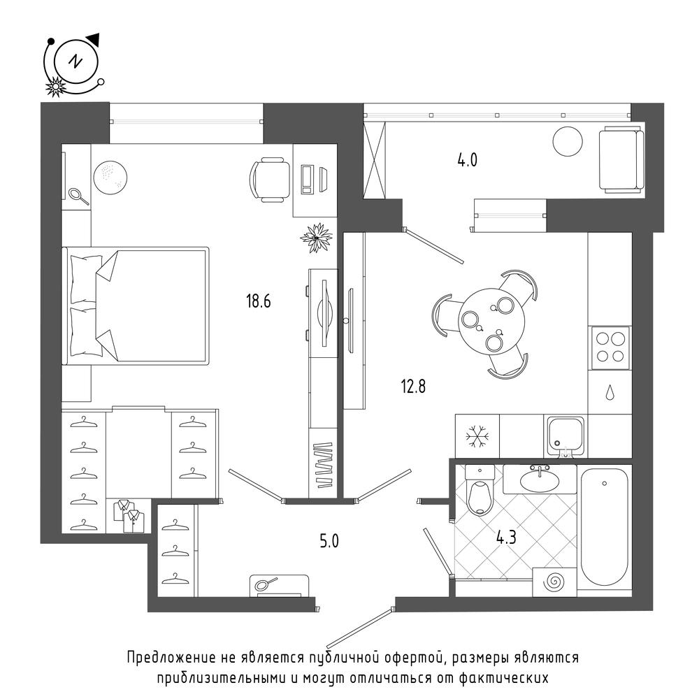 планировка однокомнатной квартиры в  №158