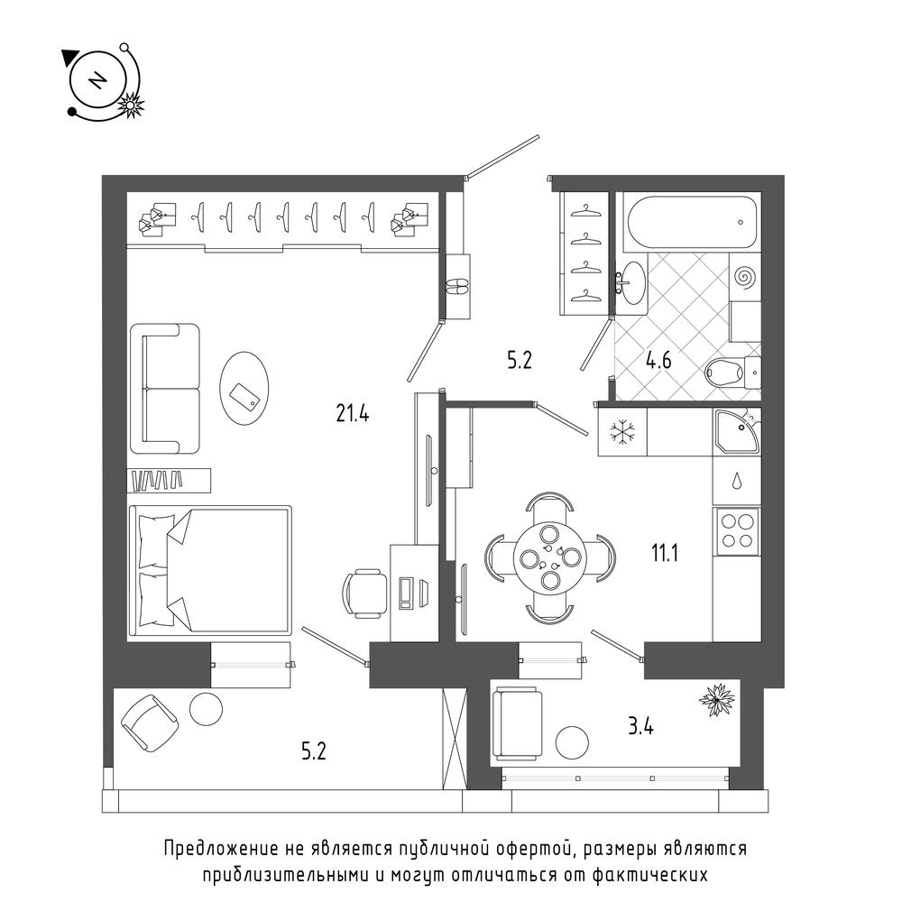 планировка однокомнатной квартиры в  №5