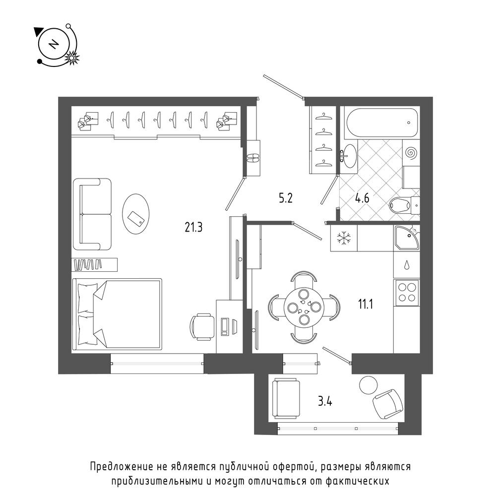 планировка однокомнатной квартиры в  №14