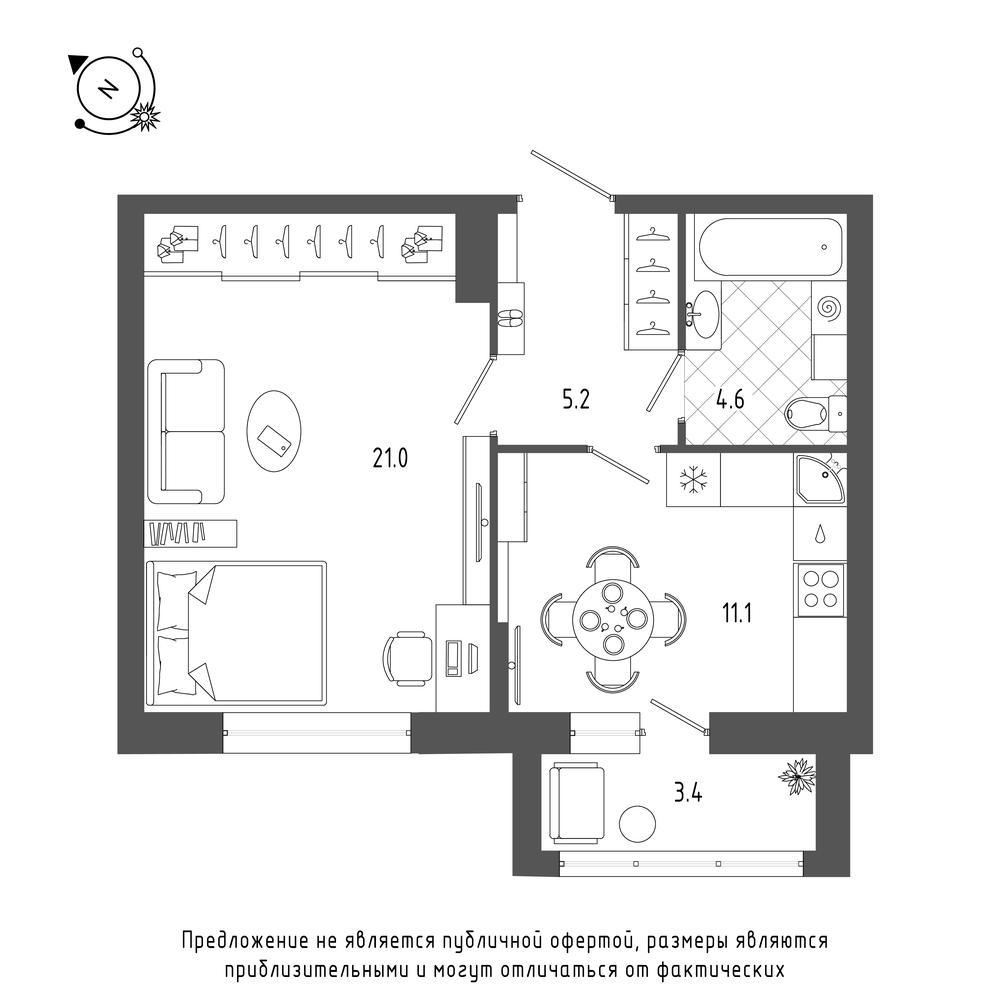 планировка однокомнатной квартиры в  №23