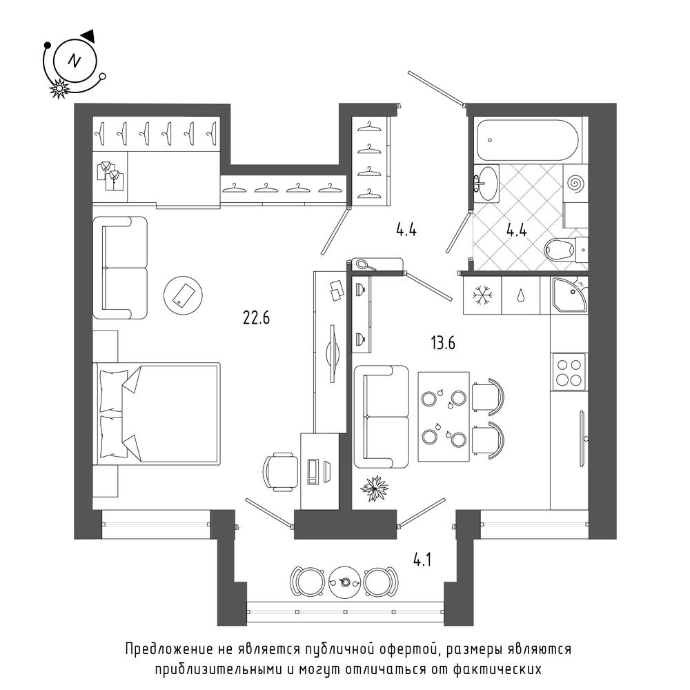 планировка однокомнатной квартиры в  №48